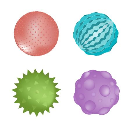 Sensory ball set of different colors and textures isolated on white. Vector illustration. Baby kids toy or sensory rooms equipment element Ilustración de vector