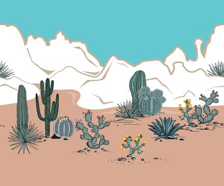 Seamless pattern with mountains, blooming cacti, opuntia, blue agave, and saguaro. Desert landscape. Vector background