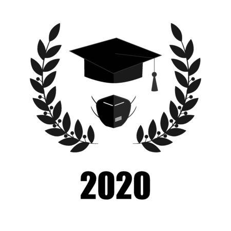 2020 Quarantine extreme graduation party. Graduate hat, respirator and laurel wreath.