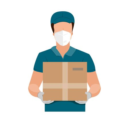Delivery of goods during the prevention of coronovirus, Covid-19. Courier in a face mask with a box in his hands. Vector flat illustration Ilustracja