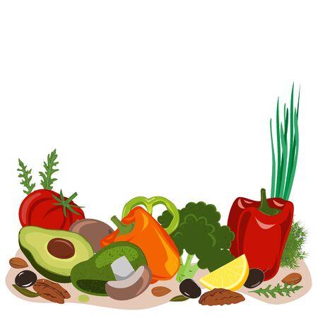 Fasting mimicking diet food, FMD products vector illustration. Vegetables, mushrooms, olives, and nuts. Ilustración de vector