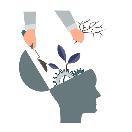 Psychotherapy or NLP symbol, Natural Language Processing or mental growth icon. Personal development and self improvement vector concept. Human head with gears and tree Vektorové ilustrace