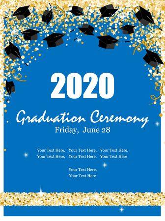 Graduation Class Ceremony of 2020 greeting cards set with graduate hats in the air gold confetti. Vector grad party invitation poster