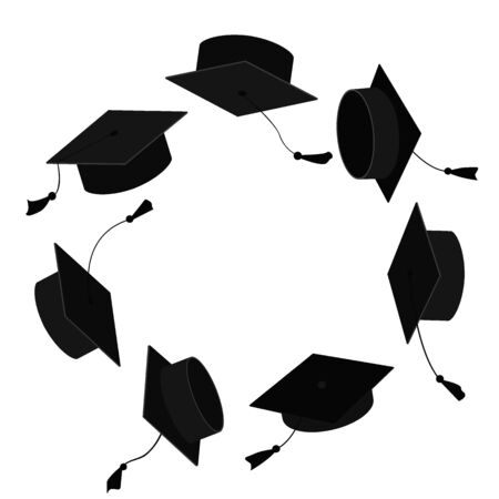 Circle frame from graduation caps. Place for text. Graduate background