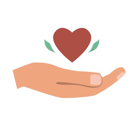 Hand, giving the heart. Love, charity or donation concept, flat vector illustration