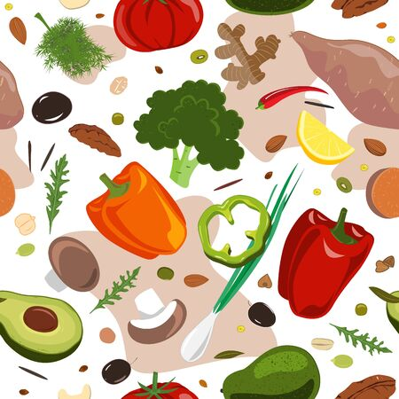 Stylish Seamless pattern with hand drawn red and green vegetables. Flat pepper, tomato, broccoli, onion, mushrooms, yam, cucumber. Vegetarian healthy food vector texture. Vegan, farm, organic, detox