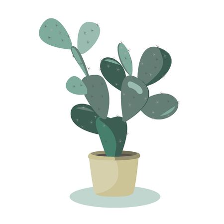 Prickly Pear Cactus. A potted plant isolated on white, vector illustration
