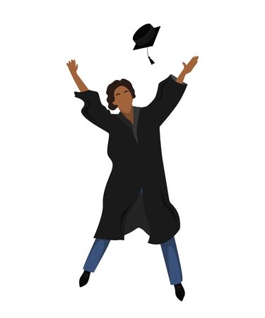 Young graduate student in graduation gown jumping and throwing the mortarboard high into the air. Flat vector illustration