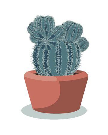 Big cactus ball in a red ceramic pot, decorative desert plant called notocactus or eriocactus. Vector illustartion 矢量图像