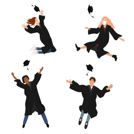 Vector set with happy graduate students in graduation clothing. Grads, jumping and throwing the mortarboards high into the air. Flat vector illustration isolated on white.
