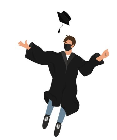 Happy graduate student in medical mask and graduation clothing jumping and throwing the mortarboard high into the air. Flat vector illustration pattern isolated on white 向量圖像