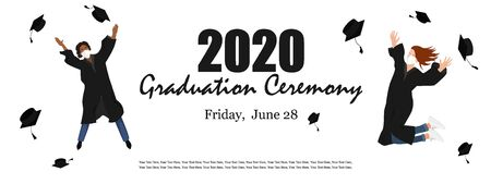 2020 Graduation ceremony banner. Young graduate students in medical masks jumping and throwing the mortarboard high into the air. Flat vector illustration