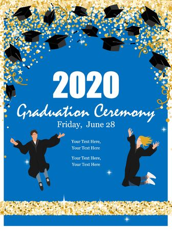 Graduation Class Ceremony of 2020 greeting cards set with graduate hats in the air gold confetti. Vector grad party invitation poster.