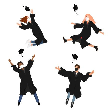 Seamless border with happy graduate students in medical masks. 2020 Grads jumping and throwing the mortarboard high into the air. Flat vector illustration pattern isolated on white Illusztráció
