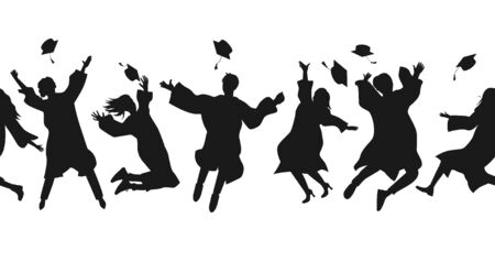 Seamless border with graduate students in graduation clothing jumping and throwing the mortarboard high into the air. Flat vector illustration pattern isolated on white