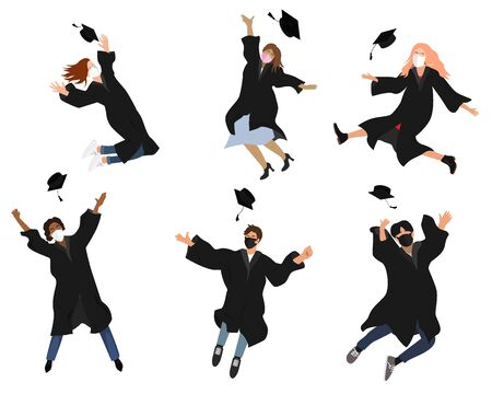 Vector set with happy graduate students in graduation clothing. Grads, jumping and throwing the mortarboards high into the air. Flat vector illustration isolated on white 向量圖像