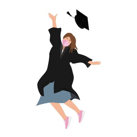 Young 20202 graduate student girl in medical mask and graduation gown jumping and throwing the mortarboard high into the air. Flat vector illustration isolated on white 向量圖像