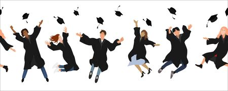 Seamless border with happy graduate students in graduation clothing jumping and throwing the mortarboard high into the air. Flat vector illustration pattern isolated on white