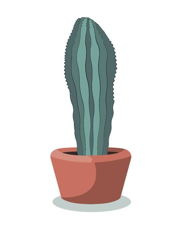 Flat drawing of a vertical potted cactus. Houseplant. Green cactus in a pot. Isolated Vector on white.