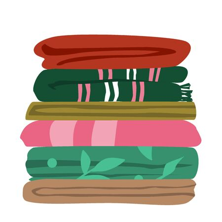Vector illustration of typical mix matched worn towels folded flat in layers. Ordinary bath towels in a pile