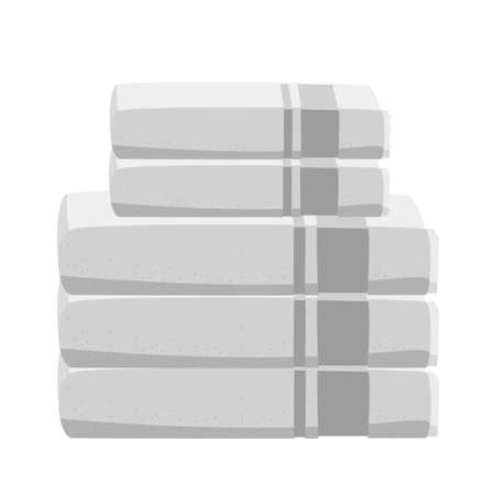 Stack of clean white towels isolated on white. Vector illustration