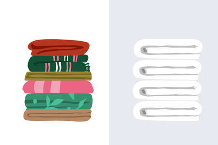 Vector illustration of two types of towels. White terry towels pile and mix matched worn towels folded flat in layers. Ordinary bath towels of different size and color in a pile 向量圖像