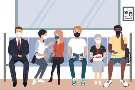People wearing protective medical masks sitting in subway. COVID-19 virus prevention, people social distancing for infection risk. Vector illustration 向量圖像