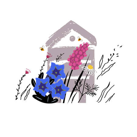 Mountain flowers vector sketch illustration. Alpine meadow honey concept with beehive in summer. Apiary concept. Beautiful flowers and busy bees .