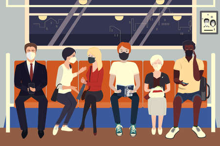 People wearing protective medical masks sitting in subway. COVID-19 virus prevention, people social distancing for infection risk. Vector illustration Ilustracje wektorowe