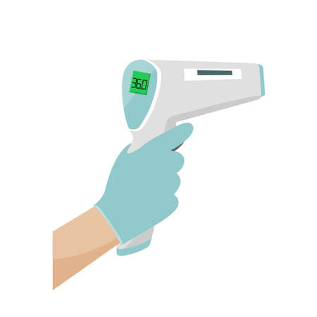 Hand holding Digital Infrared Thermometer or thermometer gun for check forehead temperature. Measurement scan from Coronavirus Disease or COVID-19. Vector illustartion on white background Ilustrace