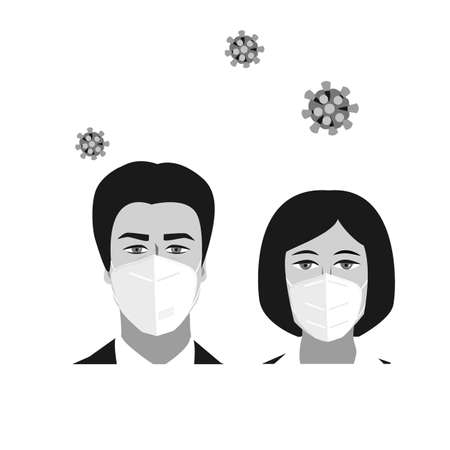 People woman and man faces with medical masks. Coronavirus prevention icon for public places. Vector illustration isolated on white background.
