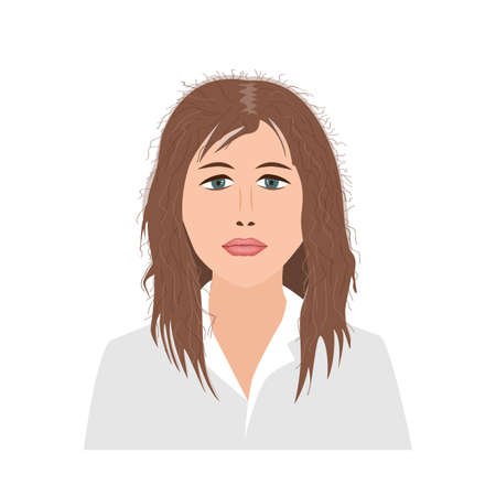 Portrait of upset young woman woman with damaged and fluffy hair becouse of colouring and often straightening. Vector illustration.