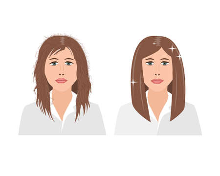 Portrait of upset young woman woman with damaged and fluffy hair before an after keratin straightening treatment. Vector illustration.