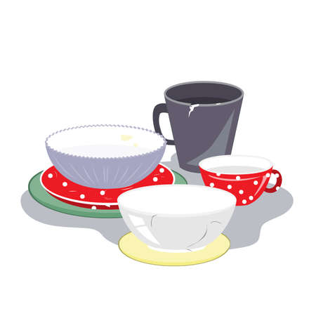 Ceramic plates, mugs, and bowls of different shape and color on a white background, vector illustration. Different tableware