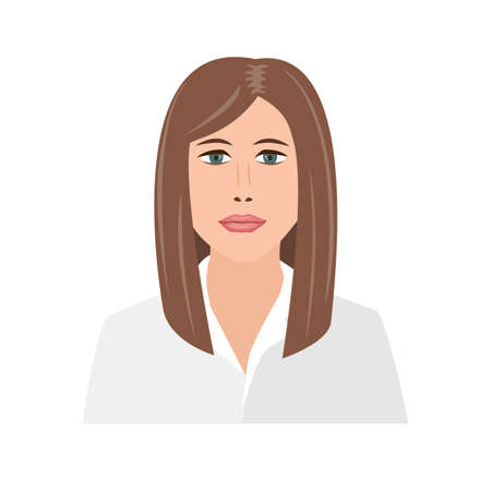 Beautiful young businesswoman portrait. Cute office girl. Female employee character, isolated concept vector illustration in cartoon flat style 向量圖像