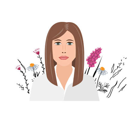 Beautiful young businesswoman portrait on wild flowers background. Self improvement concept. Female character, isolated vector illustration in cartoon flat style