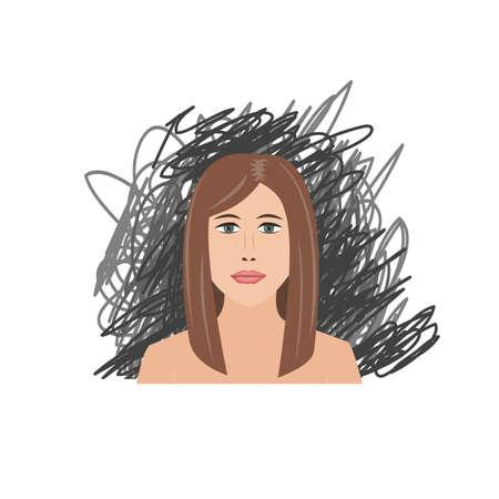 Scared and depressed girl on black scrawl background. Vector illustration