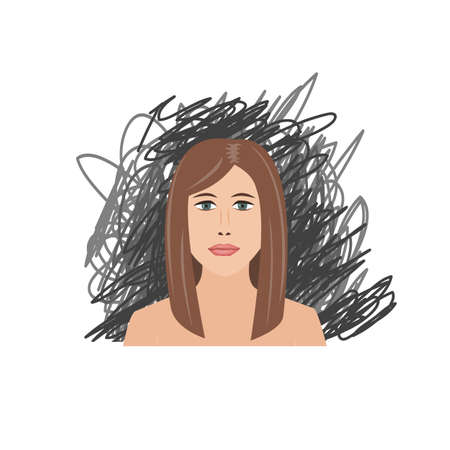 Scared and depressed girl on black scrawl background. Vector illustration
