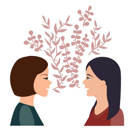 Girls talk and communication concept. Happy women talking and smiling to each other. Two girl friends chatting together. Vector illustration 向量圖像