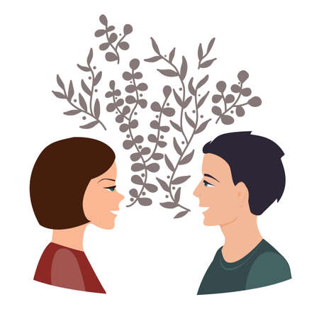 Girls and guy talk, togetherness and communication concept. Happy woman and man talking and smiling to each other. Two friends chatting together. Vector illustration