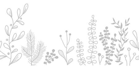 Vector seamless border with doodle forest and meadow plants. Hand drawn abstract background for frames, posters, textile 向量圖像