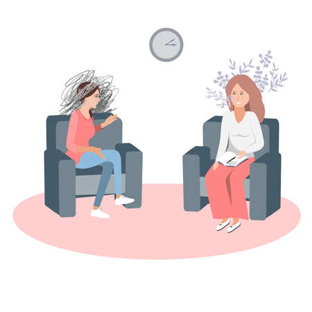 Gestalt psychotherapy session vector illustration. Woman psychologist and talking woman patient. Work with feelings and emotions, society psychiatry concept 向量圖像