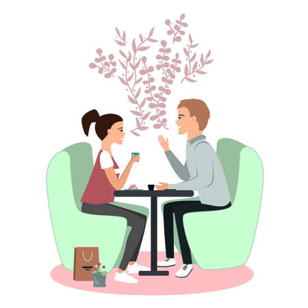 Cute couple seating in cafe. Communication and rapport vector illustration concept. Happy Valentines Day card. Woman and man talking and smiling to each other. Two friends chatting together 向量圖像
