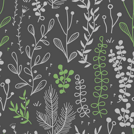 Vector seamless border with doodle forest and meadow plants. Hand drawn abstract background for textile, wallpapers, prints