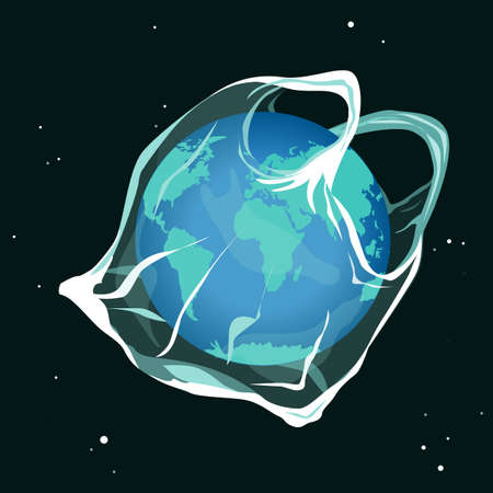Earth planet catching into the plastic bag. Say no to plastic bags sad earth cartoon concept. Environment pollution Vector illustration