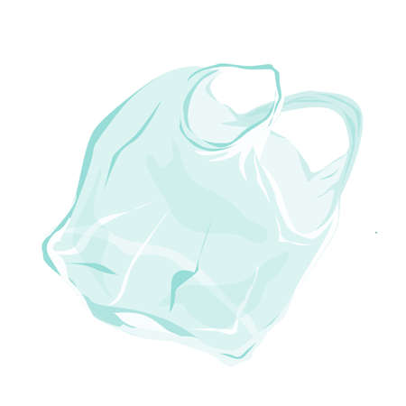 Transparent plastic bag flying in the air. Pollution problem. Vector illustration isolated on white background