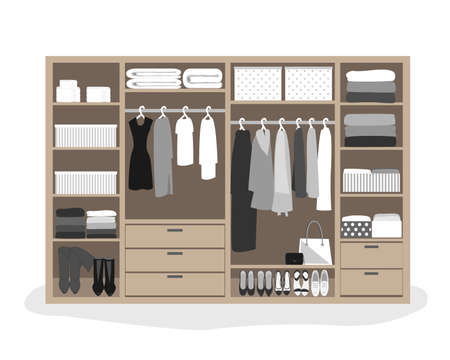 Wardrobe storage system in a modern style. Dressing room interior element, flat vector illustration