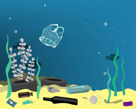 Plastic pollution illustration trash under the sea. Different kinds of garbage, bags, wastes, plastic botles, and plastic utensils in the ocean. Vector illustration Иллюстрация