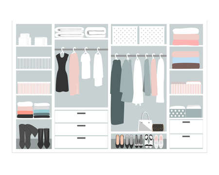 Wardrobe storage system in a modern style. Dressing room interior element, flat vector illustration. Closet with woman closing