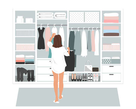 Wardrobe storage room and young elegant woman in front of open closet full of elegant dresses. Everyday choice what to wear into the office Иллюстрация